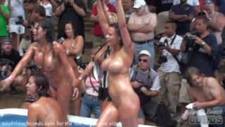 Huge Crowd at Stripper Contest at Nudist Resort